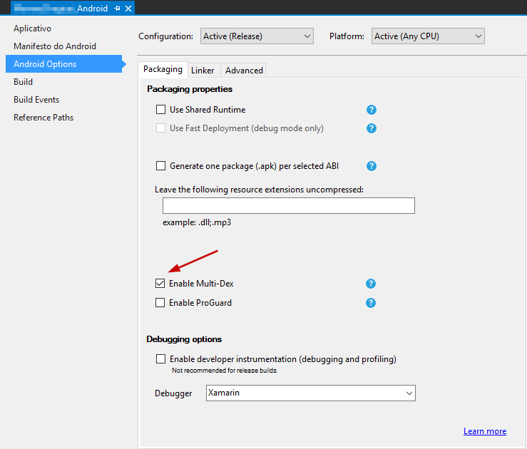 xamarin android options enable multidex